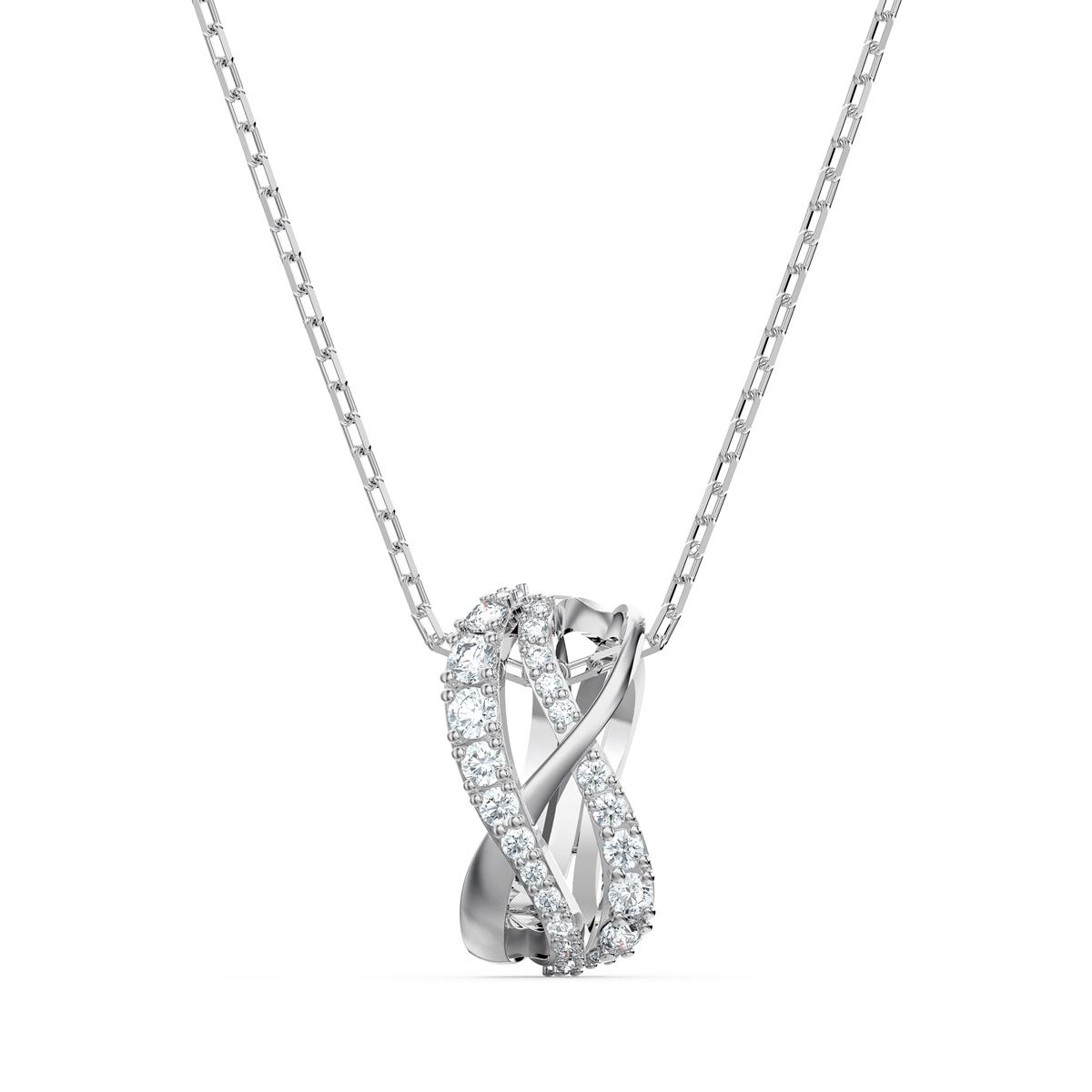 Swarovski Twist Rows Pendant Necklace, White, Rhodium Plated