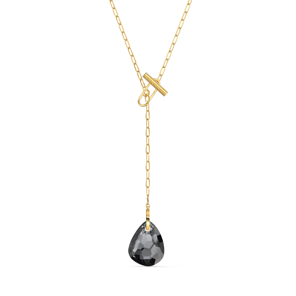 Swarovski T Bar Y Necklace, Gray, Gold Tone Plated