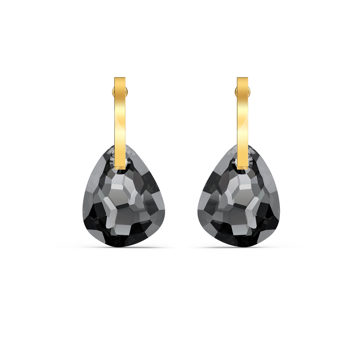 Swarovski T Bar Pierced Earrings, Gray, Gold Tone Plated