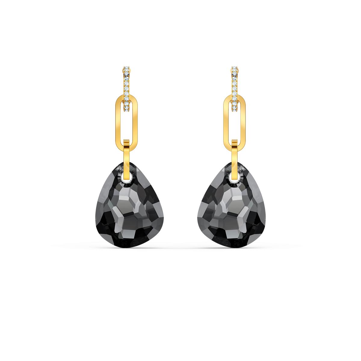 Swarovski T Bar Pierced Earrings, Medium, Gray, Gold Tone Plated