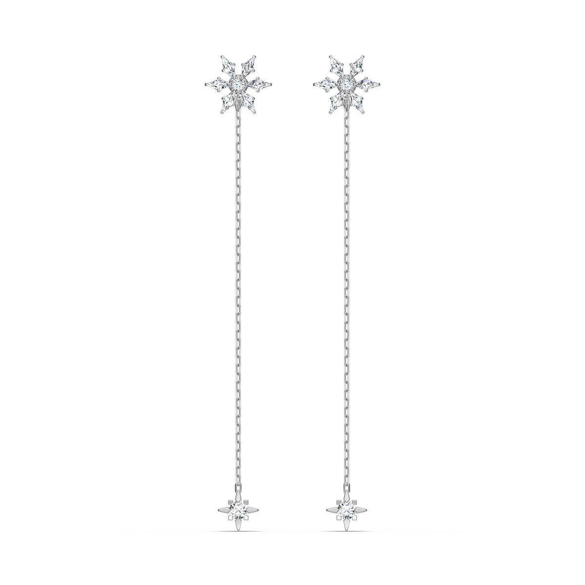 Swarovski Magic Chain Pierced Earrings, White, Rhodium Plated