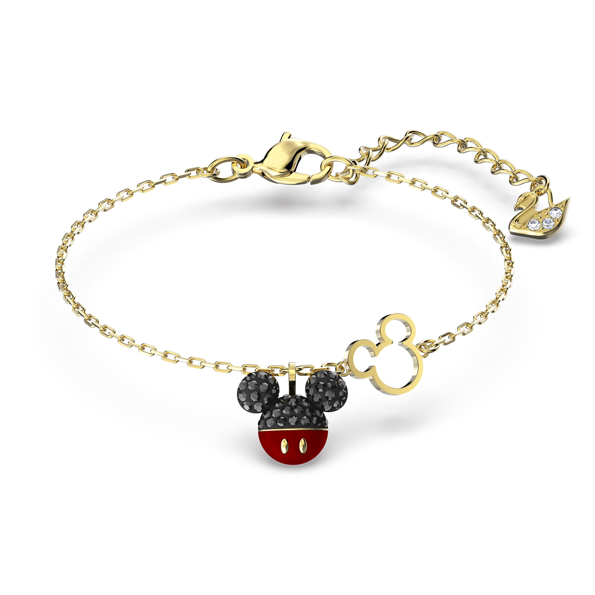 Swarovski Disney Mickey Bracelet, Black, Gold Tone Plated