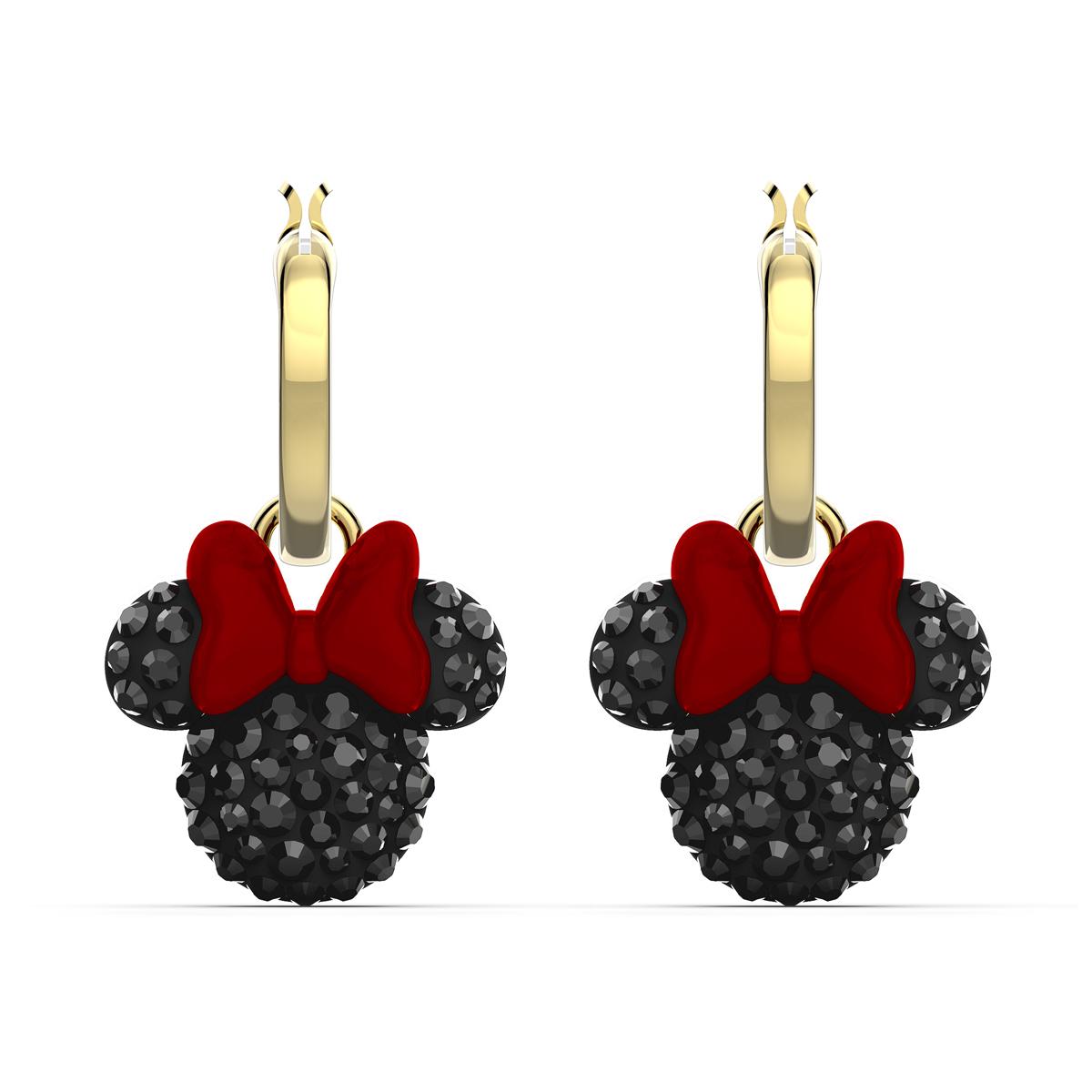 Swarovski Disney Minnie Hoop Pierced Earrings, Black, Gold Tone Plated