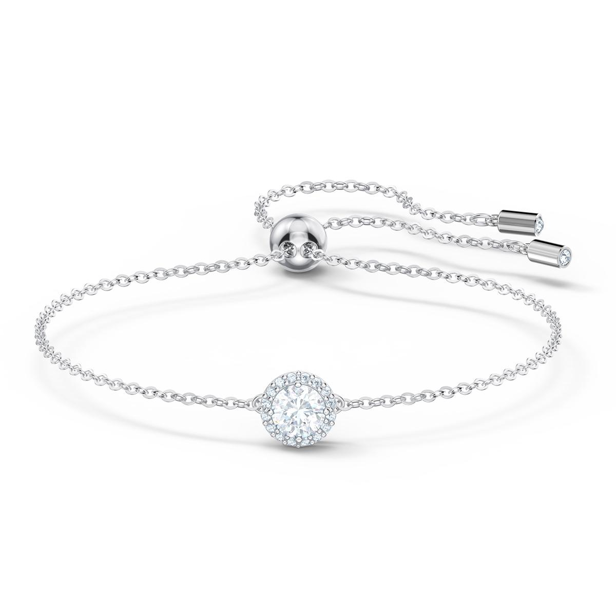 Swarovski Angelic Round Bracelet, White, Rhodium Plated