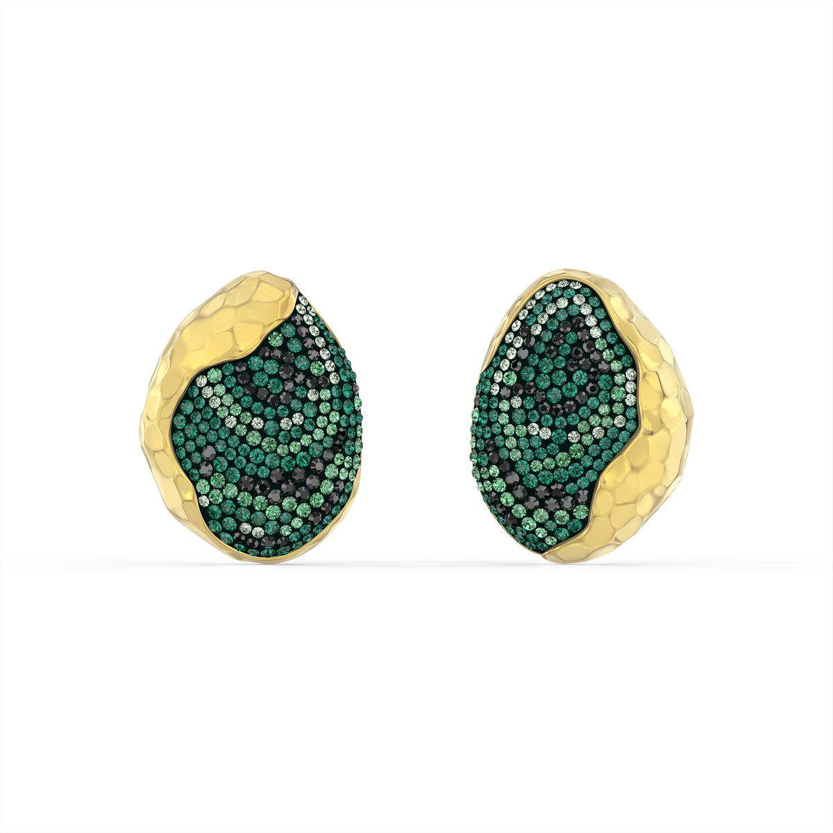 Swarovski The Elements Clip Earrings, Green, Gold Tone Plated