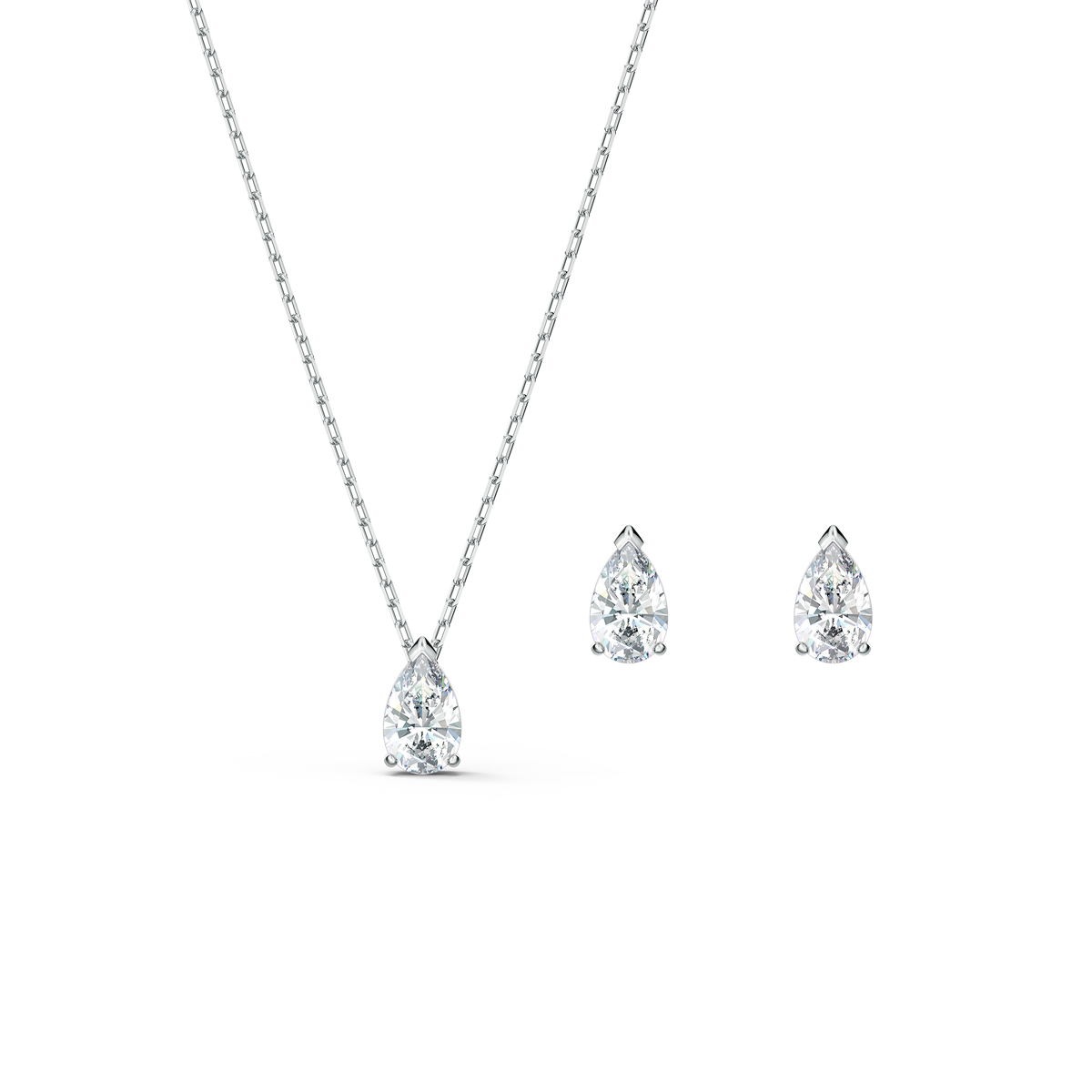 Swarovski Attract Pear Necklace and Earrings Set, White, Rhodium Plated
