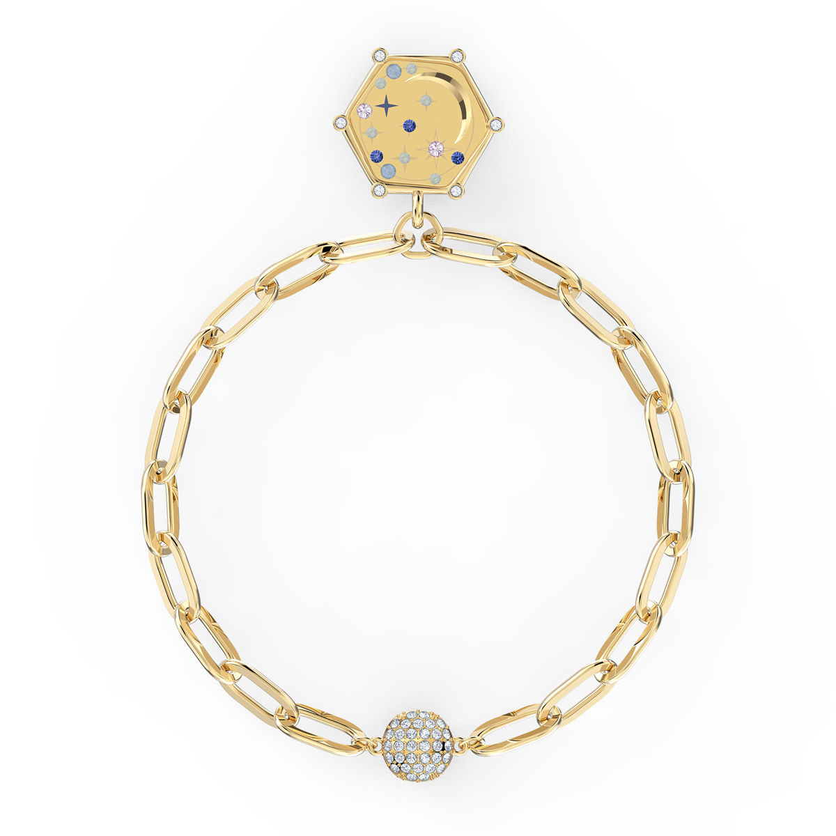 Swarovski The Elements Moon Bracelet, Blue, Gold Tone Plated