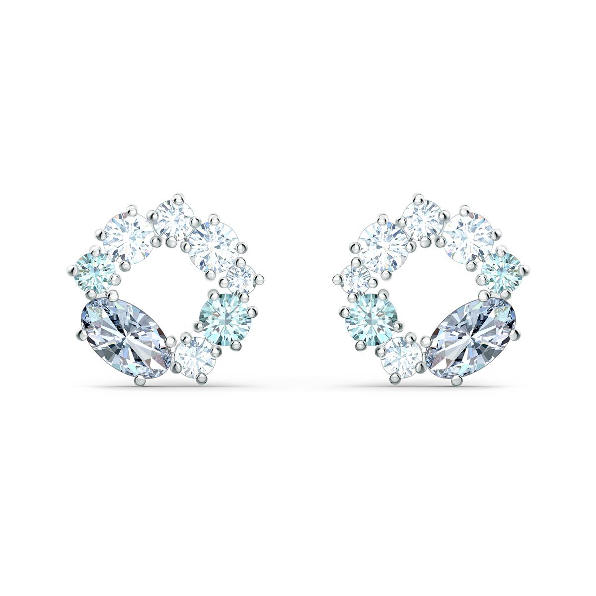 Swarovski Attract Circle Stud Pierced Earrings, Multicolored, Rhodium Plated