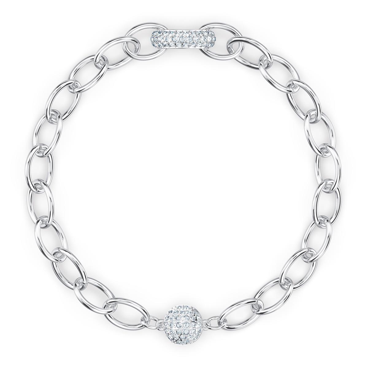 Swarovski The Elements Chain Bracelet, White, Rhodium Plated