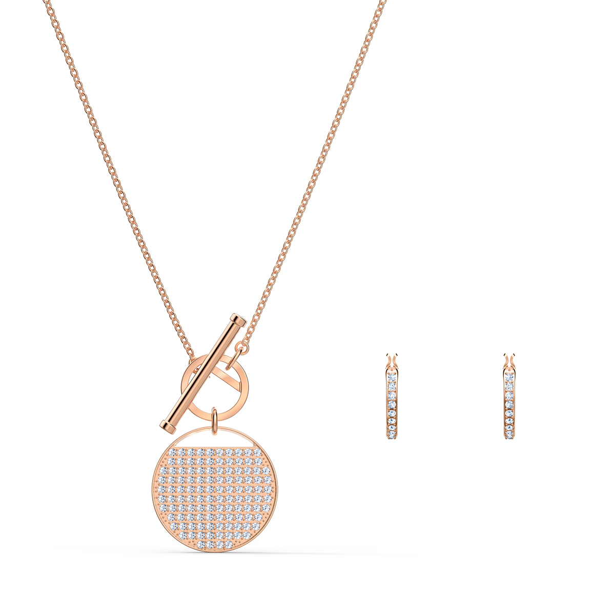 Swarovski Ginger T Bar Necklace and Earrings Set, White, Rose Gold Tone Plated