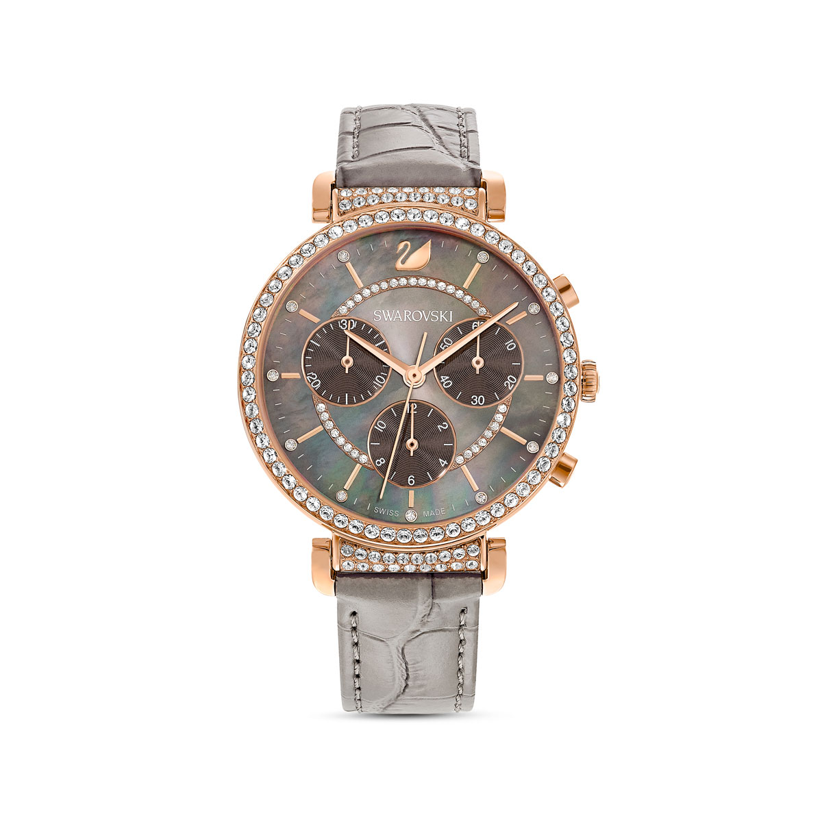 Swarovski Watch Passage Chrono Stainless Case Taupe Mother or Pearl, Rose Gold, Taupe Leather