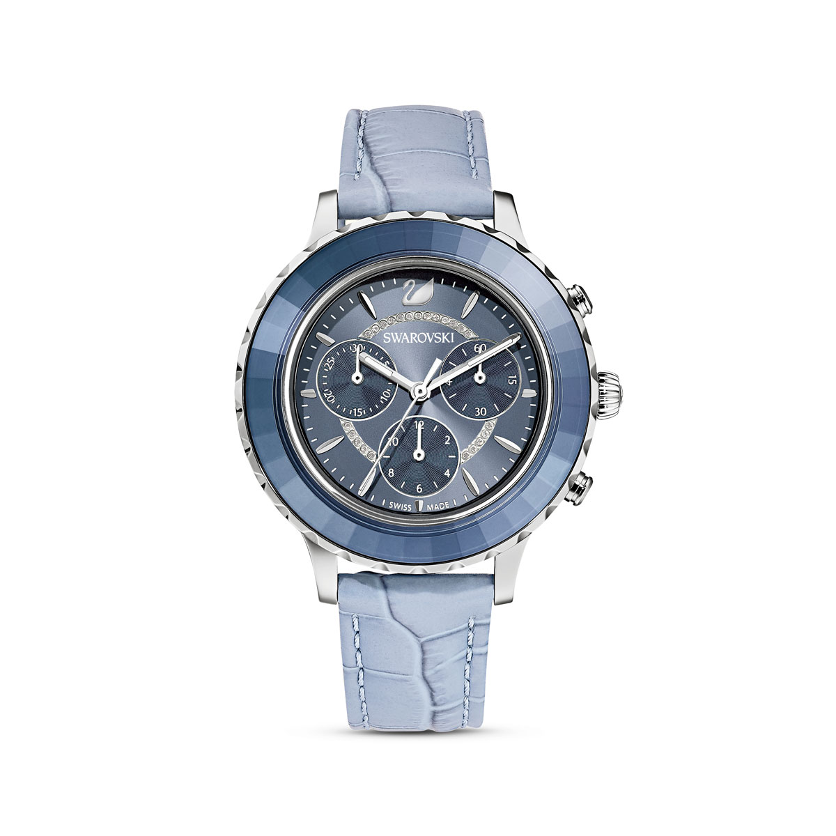 Swarovski Watch Octea Lux Chrono Stainless Case Denim Blue Dial, Denim Blue Leather Strap