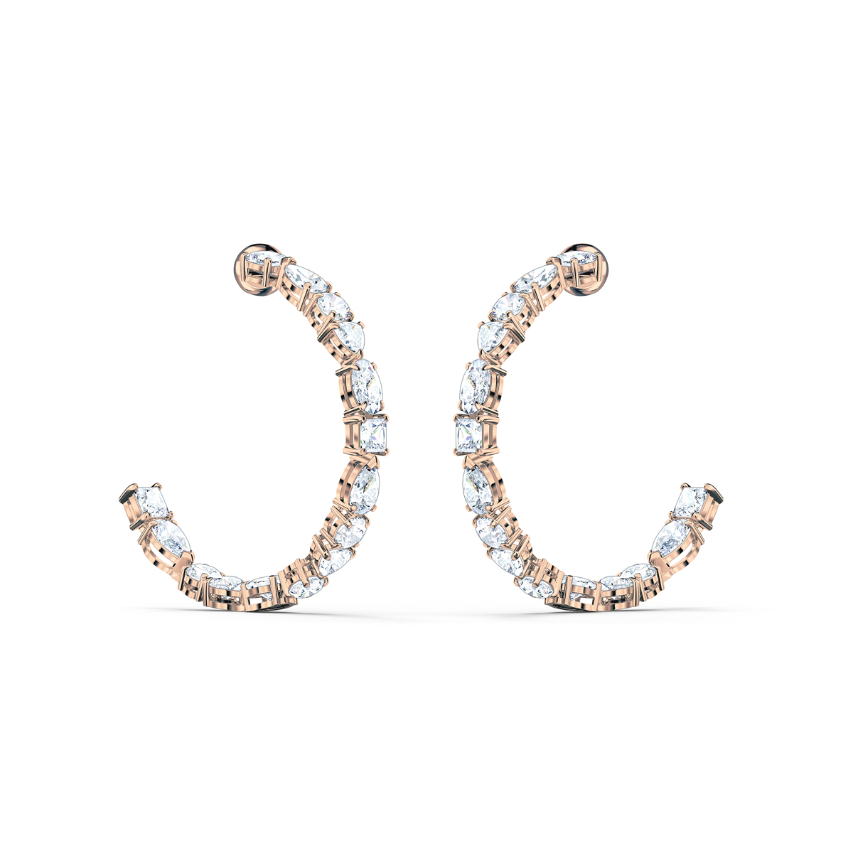 Swarovski Tennis Deluxe Mixed Hoop Pierced Earrings, White, Rose Gold Tone Plated