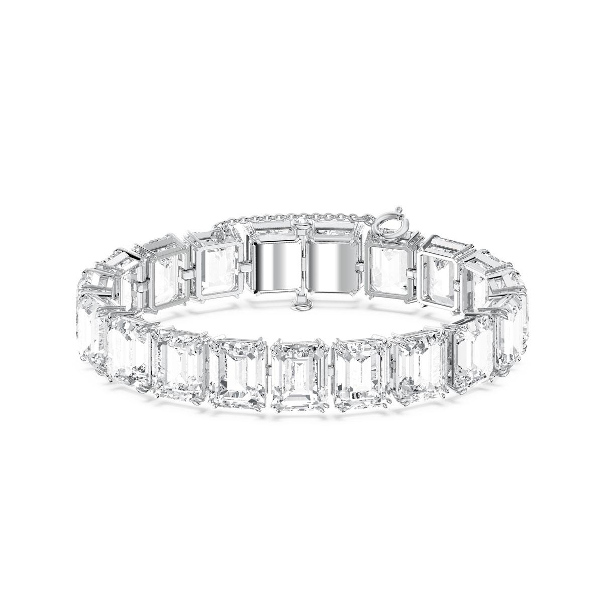 Swarovski Millenia Bracelet, Small Octagon Cut Crystals, White, Rhodium Plated