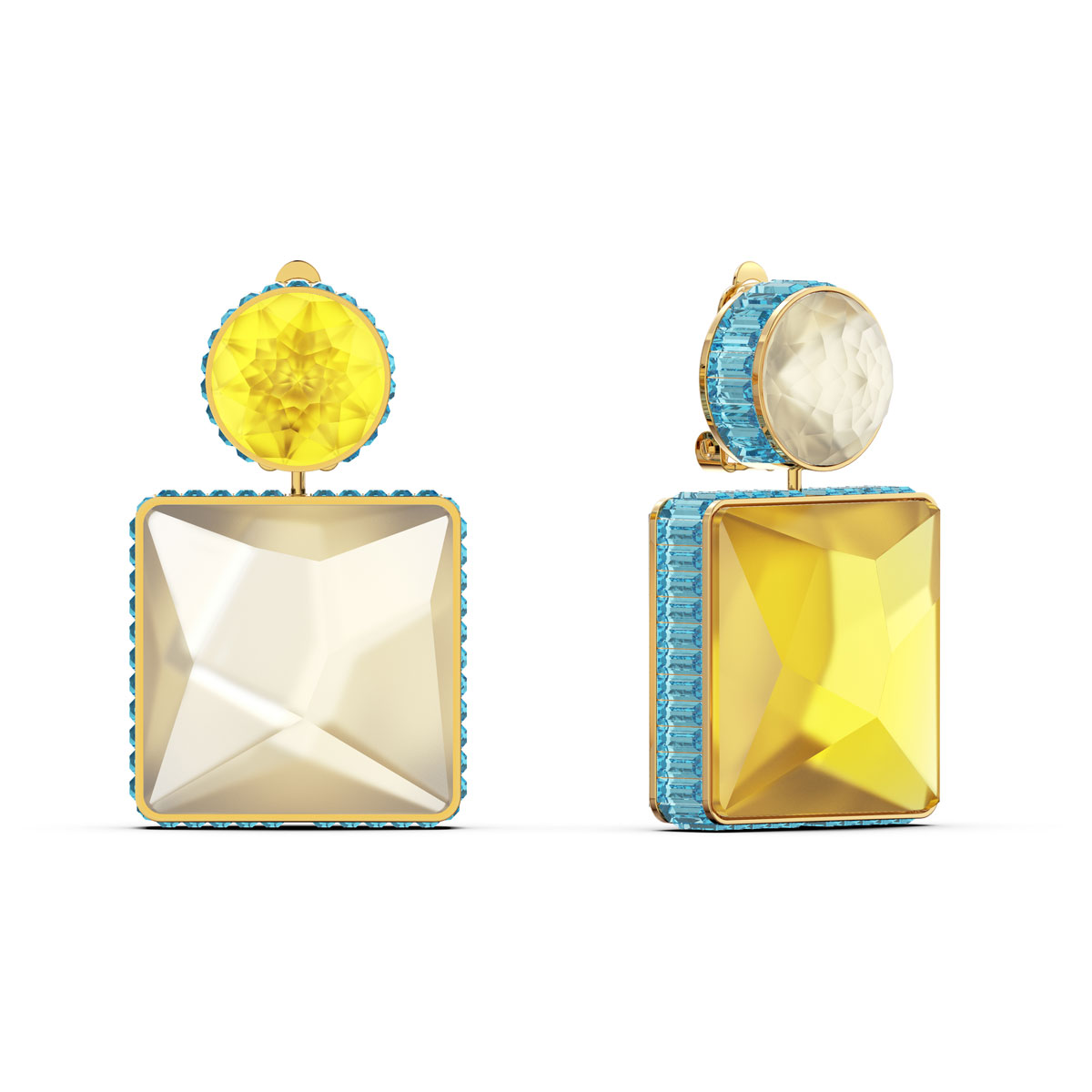 Swarovski Orbita Earrings, Asymmetrical, Square Cut Crystal, Multicolored, Gold-Tone Plated, Set