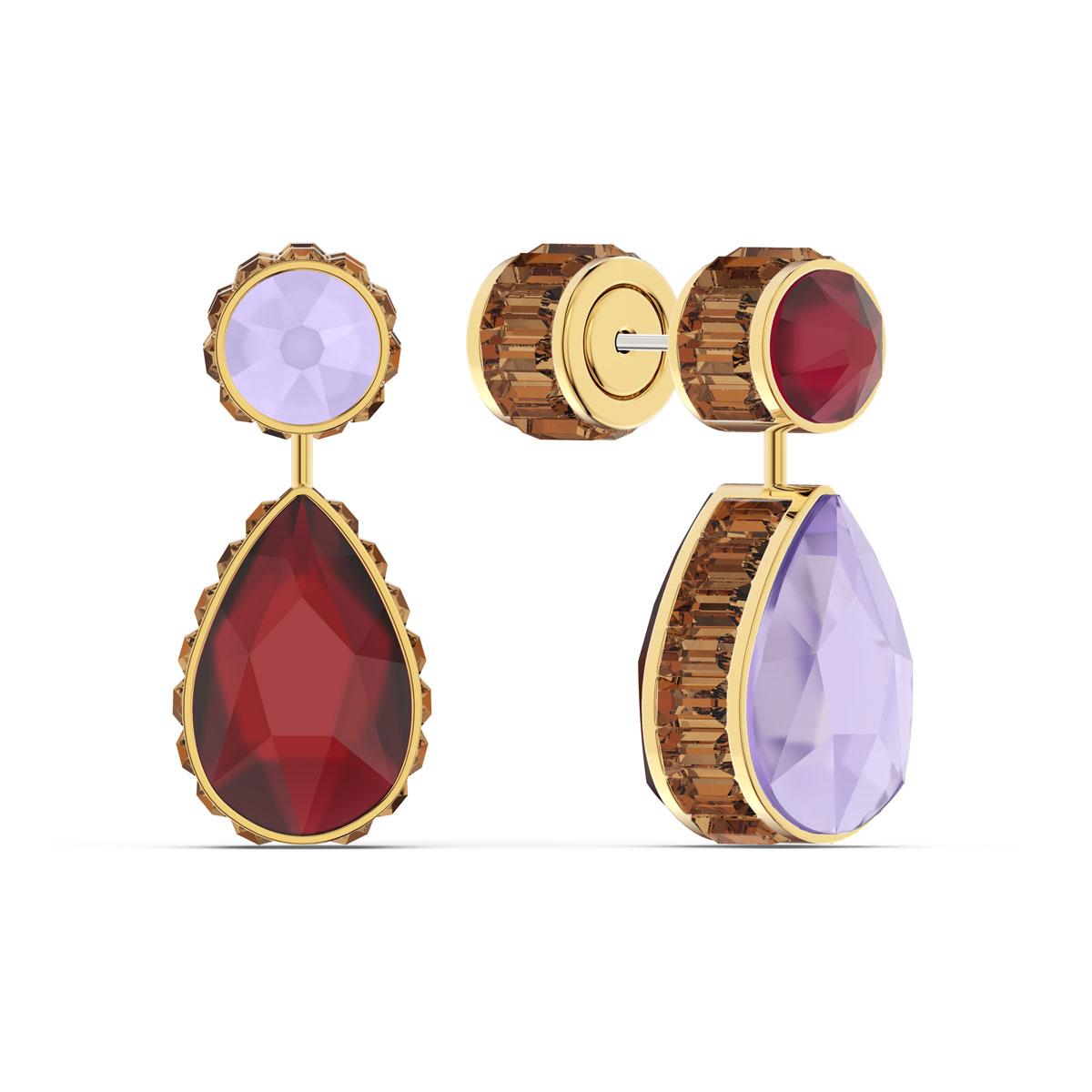 Swarovski Orbita Earrings Asymmetrical, Drop Cut Crystals, Multicolored, Gold-Tone Plated, Set