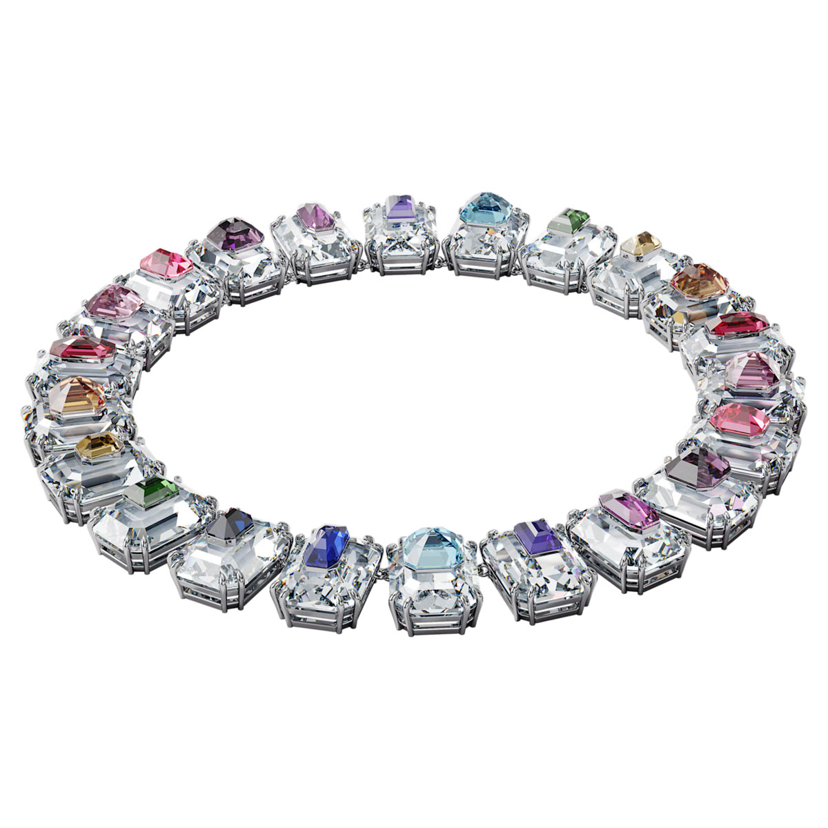 Swarovski Chroma Choker Necklace , Oversized Crystals, Multicolored, Rhodium Plated