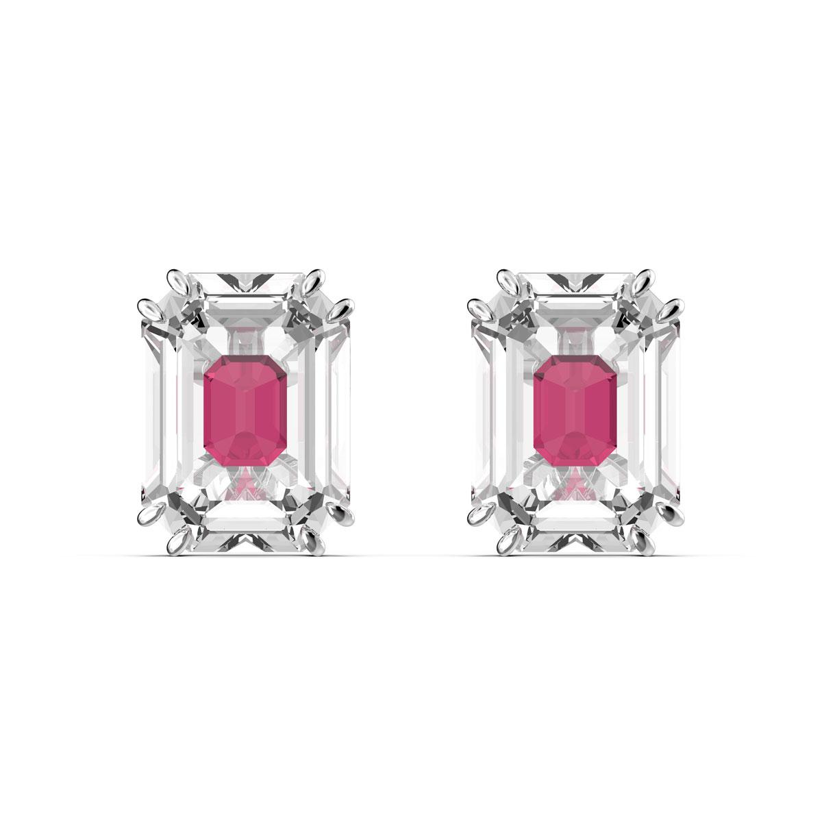 Swarovski Chroma Earrings, Pink, Rhodium Plated, Pair