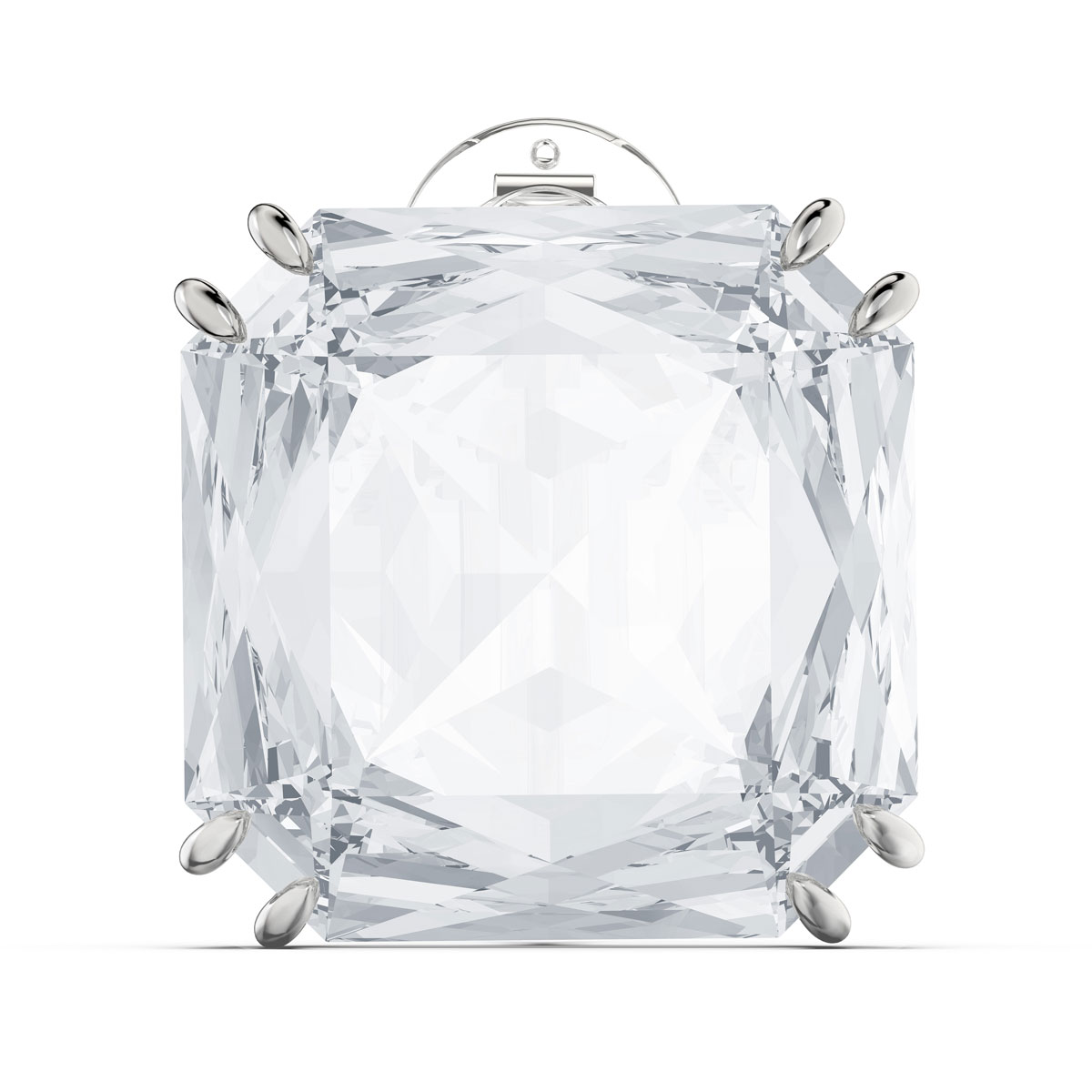 Swarovski Mesmera Earring Single, Square Cut Crystal, White, Rhodium Plated