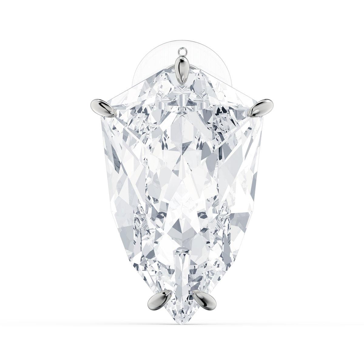 Swarovski Mesmera Earring, Single Trilliant Cut Crystal, White, Rhodium Plated