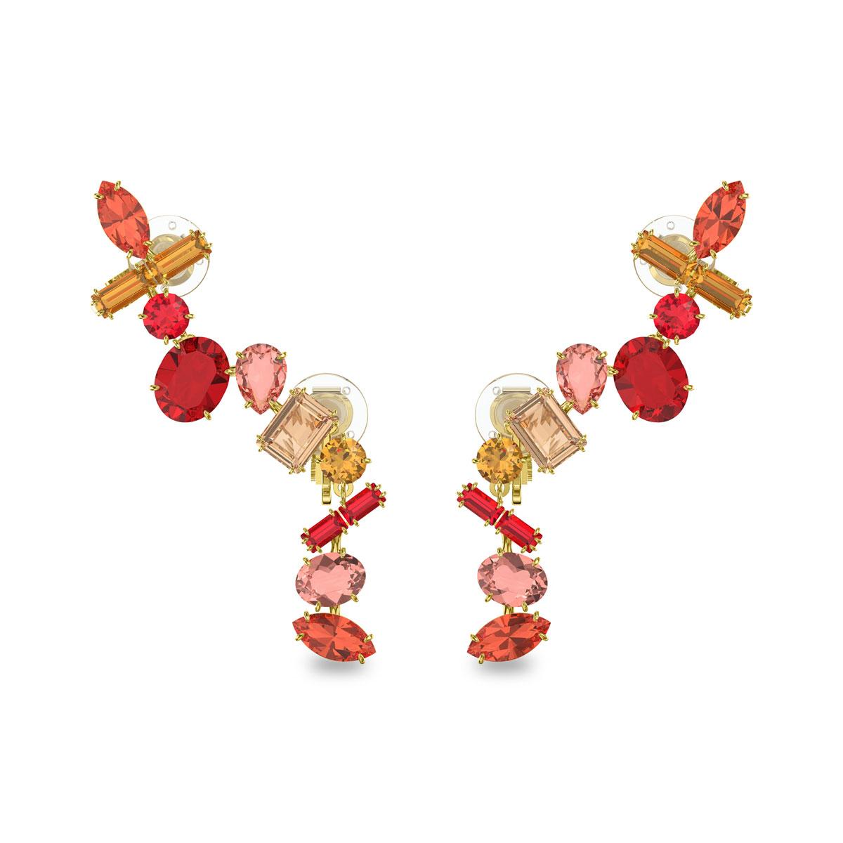 Swarovski Gema Earrings, Multicolored, Gold-Tone Plated, Pair