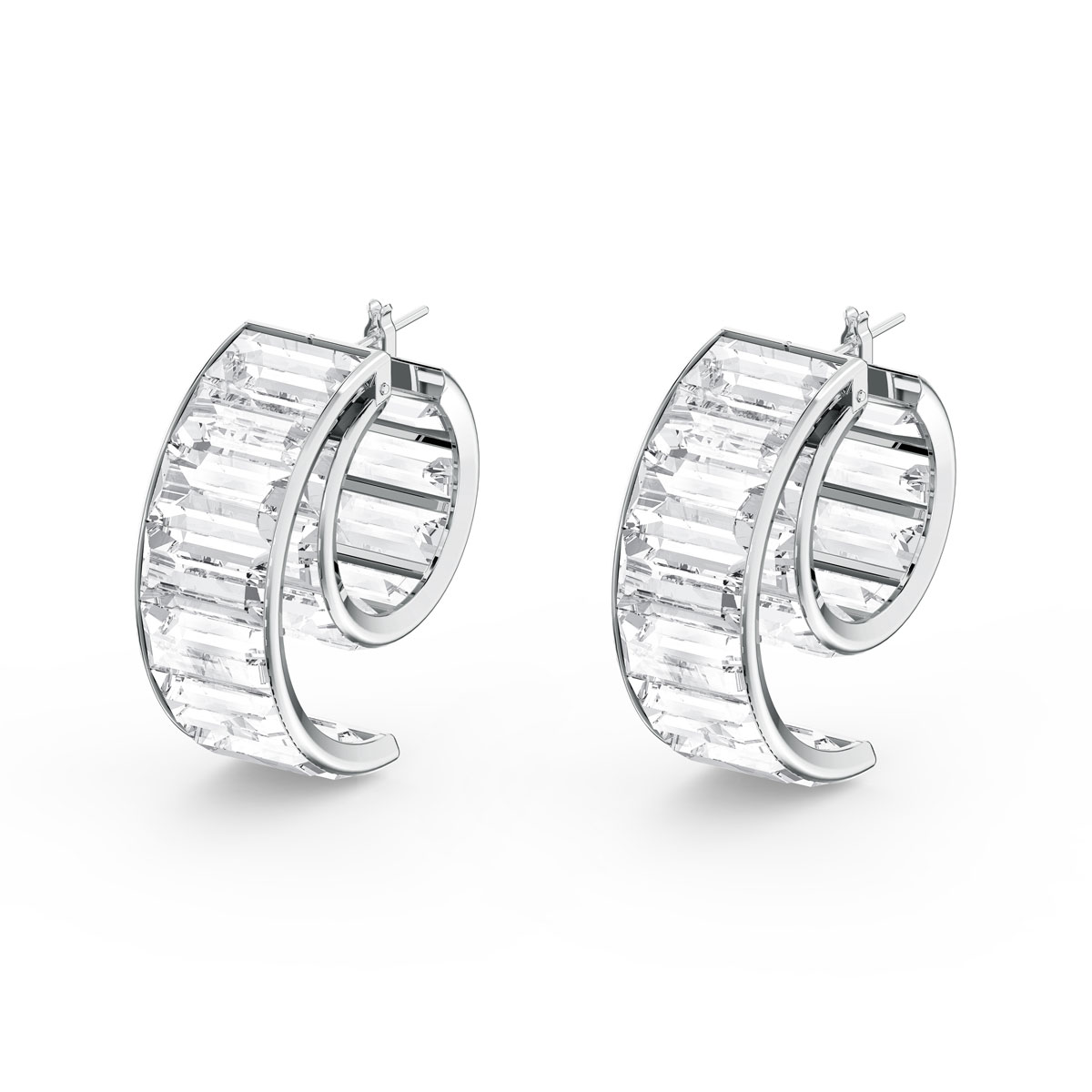 Swarovski Matrix Earrings, White, Rhodium Plated, Pair