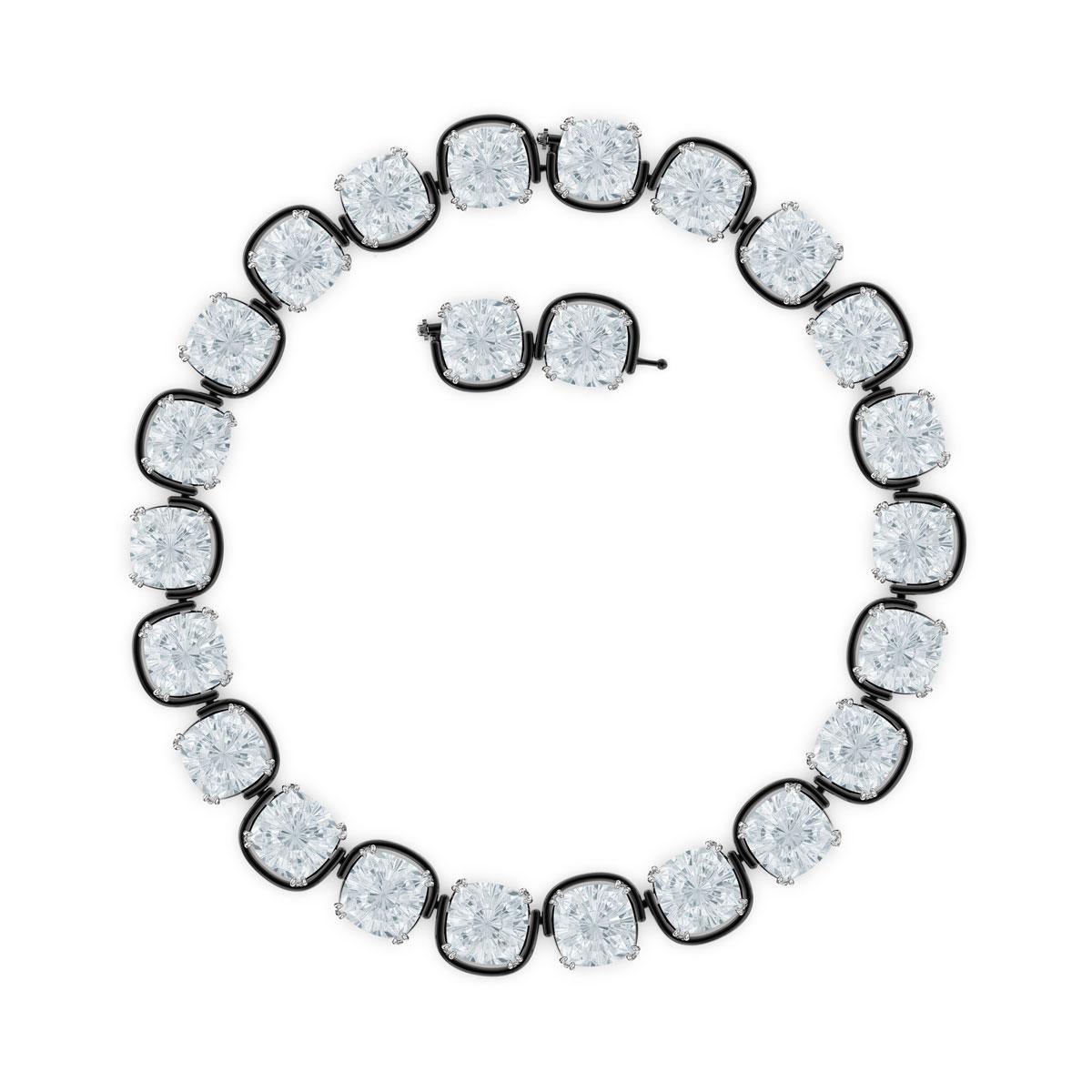 Swarovski Harmonia Choker Necklace , Cushion Cut Crystals, White, Mixed Metal Finish