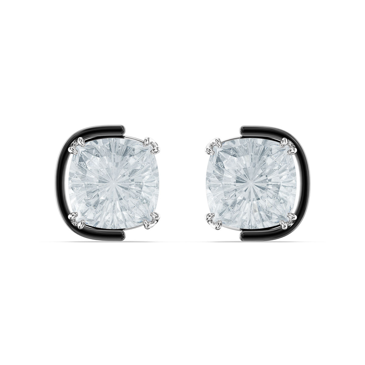 Swarovski Harmonia Earrings, Cushion Cut Crystals, White, Mixed Metal Finish, Pair