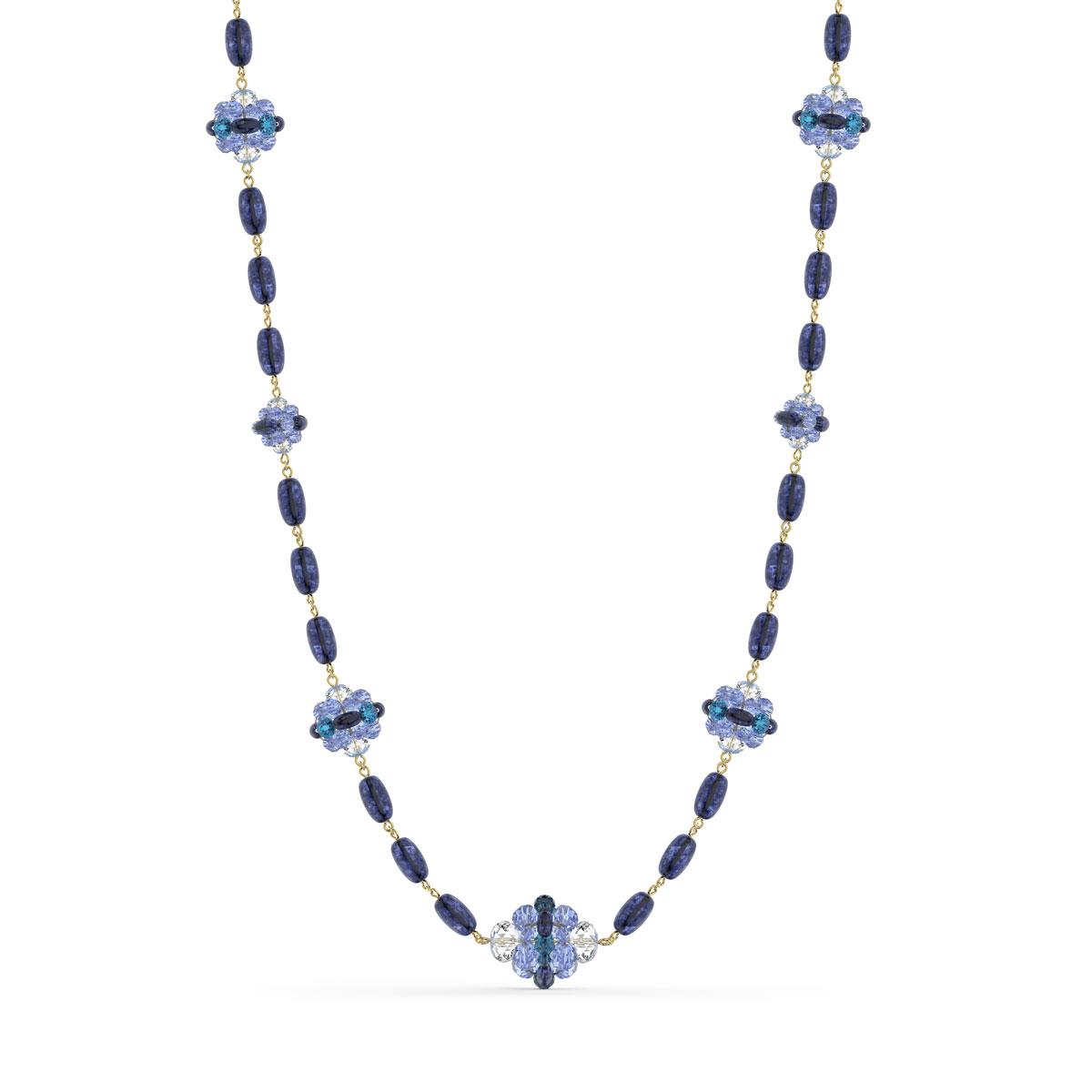 Swarovski Somnia Necklace, Extra Long, Blue, Gold-Tone Plated