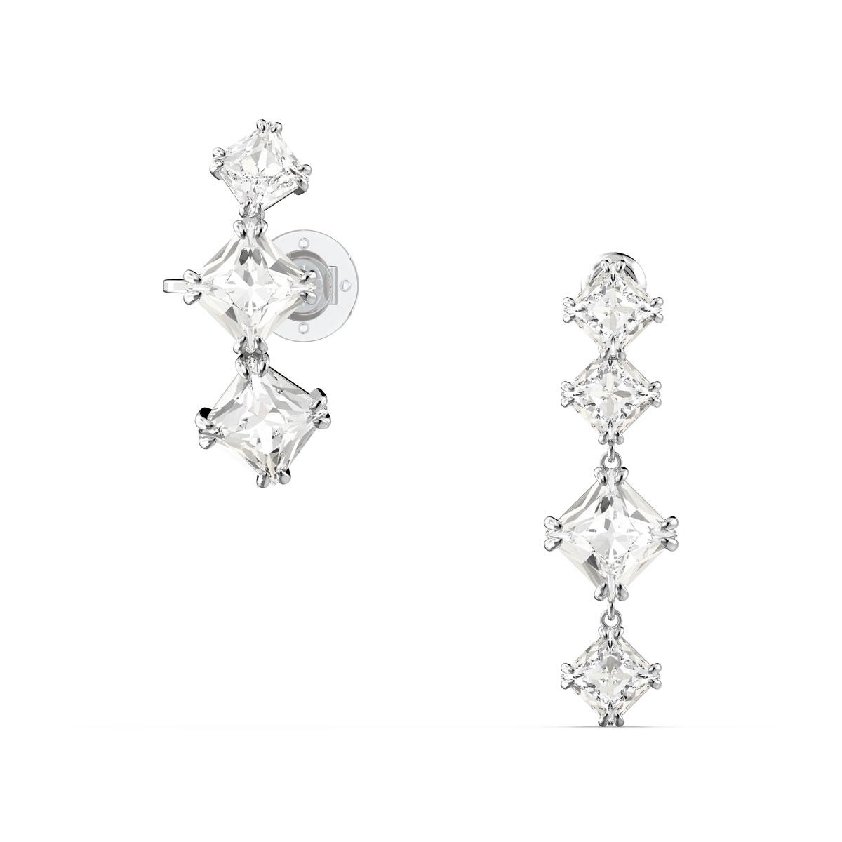Swarovski Millenia Drop Earrings, Asymmetrical, Set, White, Rhodium Plated, Pair