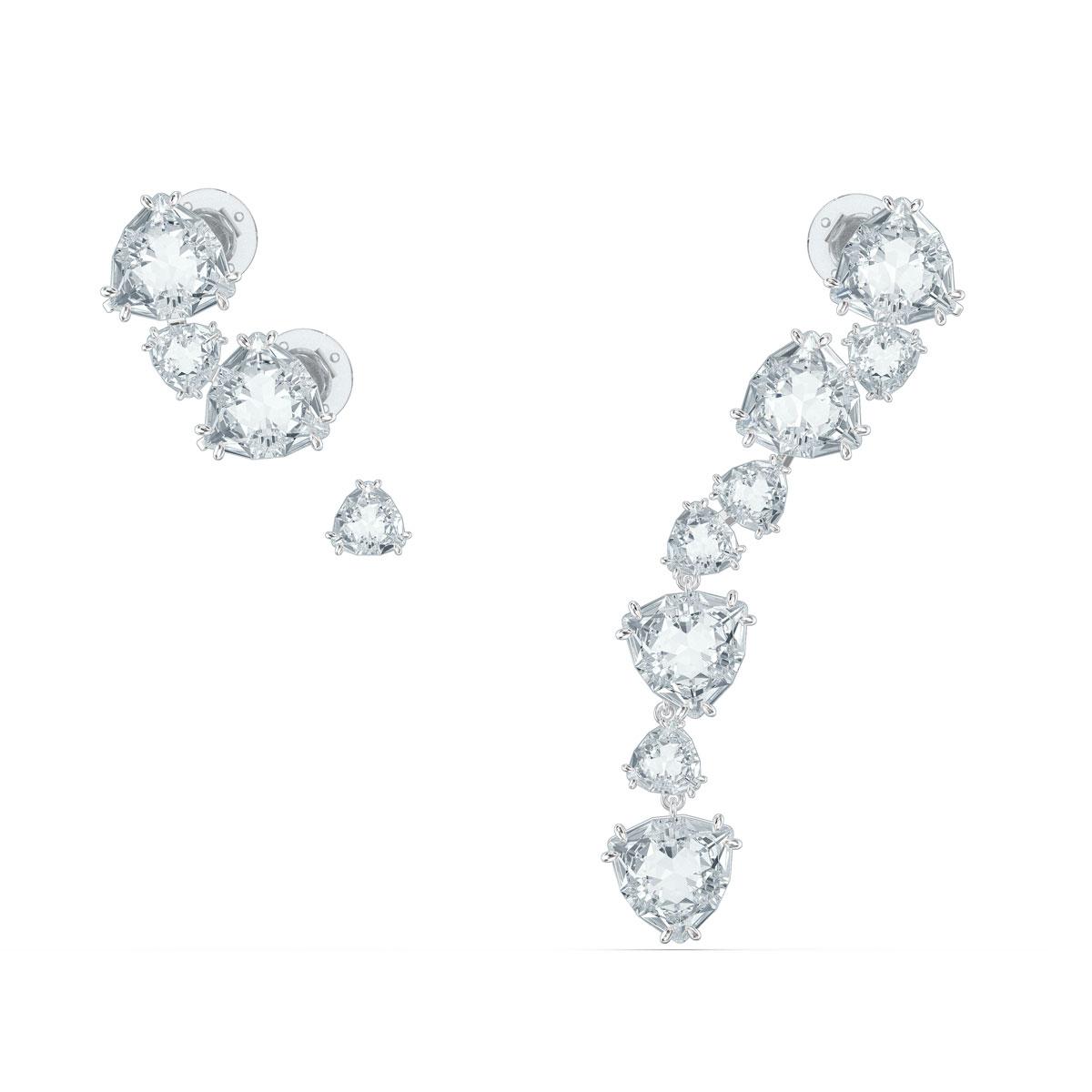 Swarovski Millenia Ear Cuff, Asymmetrical, Set, White, Rhodium Plated