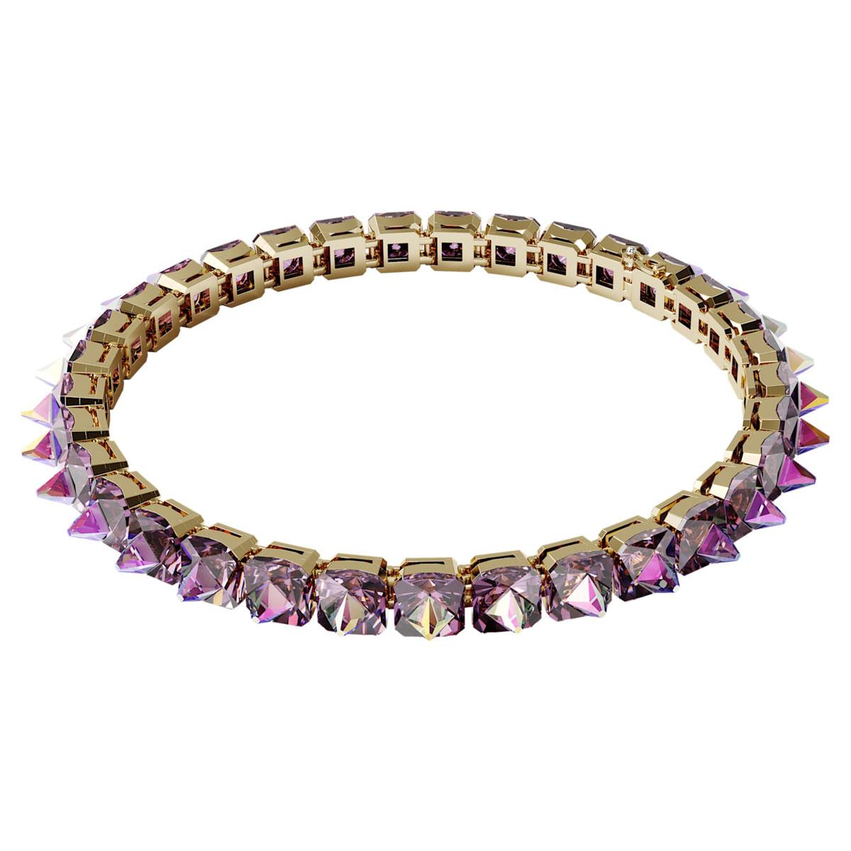 Swarovski Chroma Choker Necklace , Spike Crystals, Purple, Gold-Tone Plated