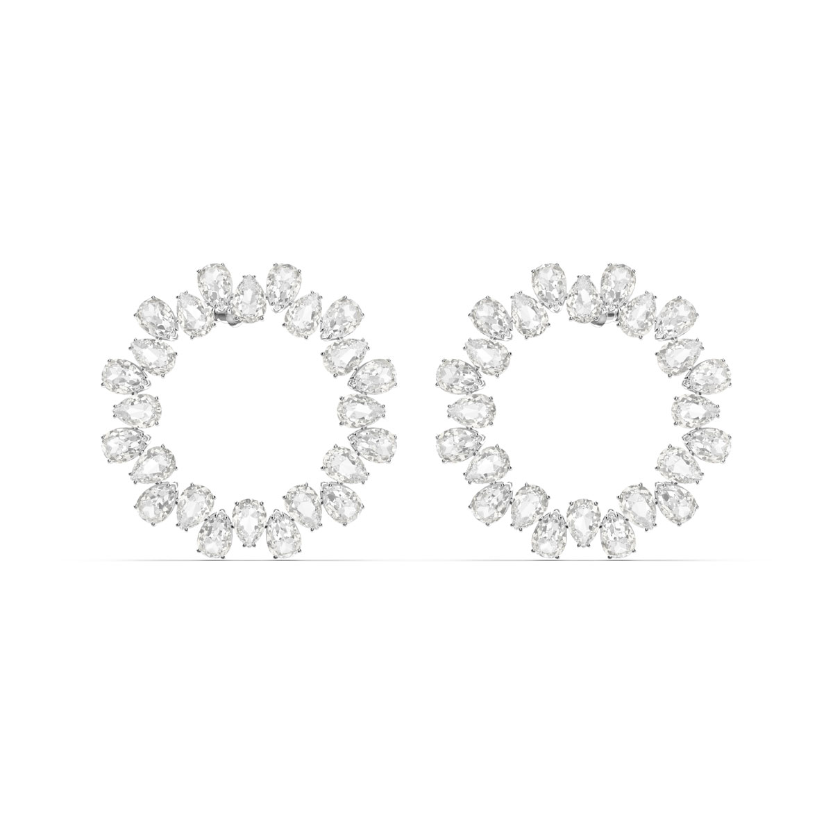 Swarovski Millenia Earrings, Circle, White, Rhodium Plated, Pair