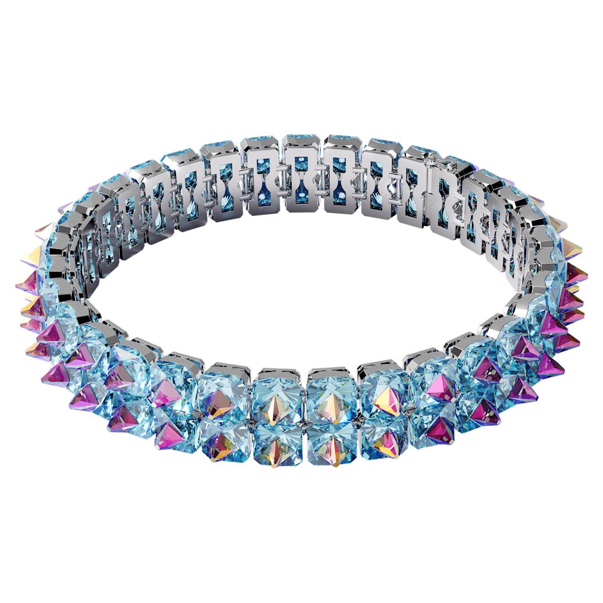 Swarovski Chroma Choker Necklace , Spike Crystals, Blue, Rhodium Plated