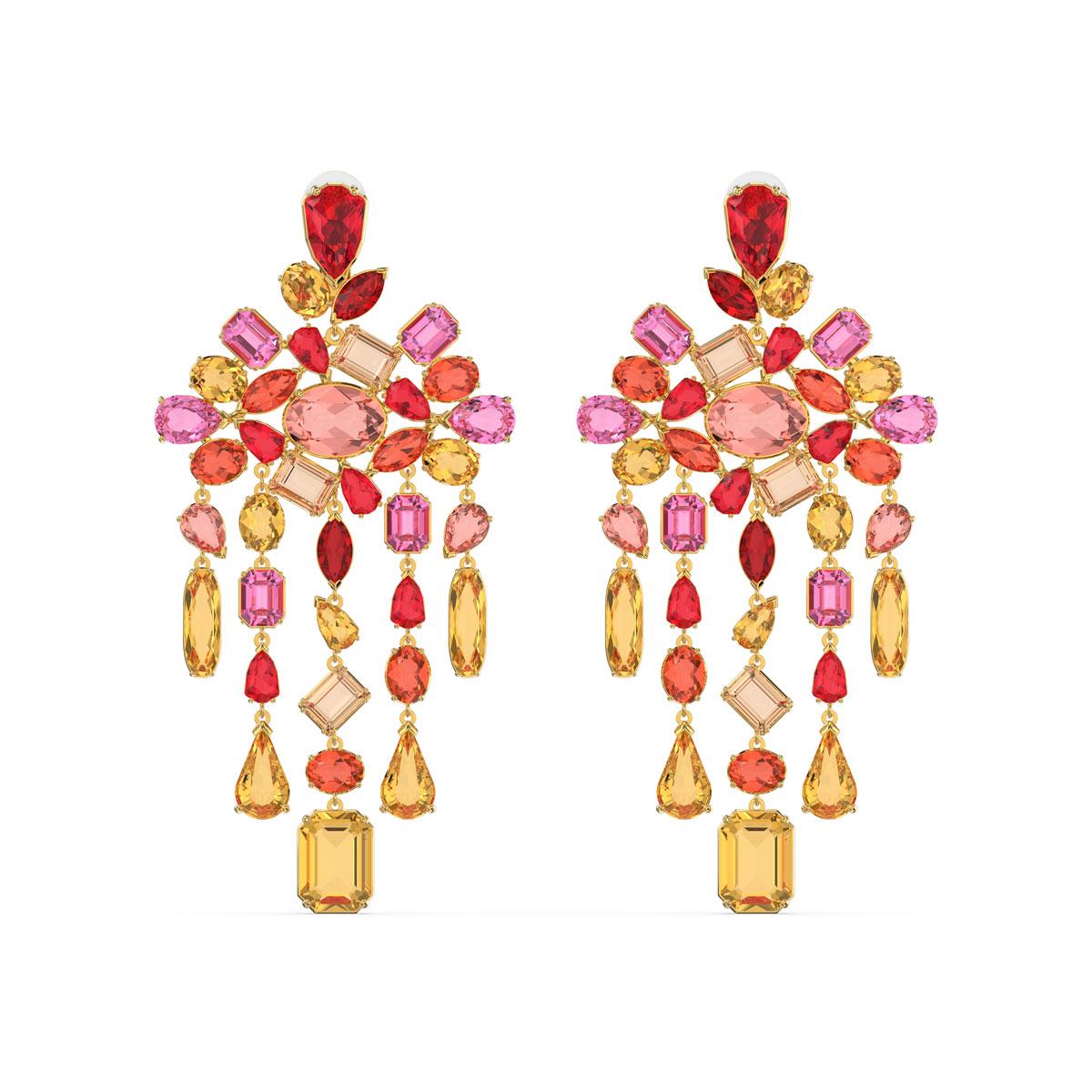 Swarovski Gema Clip Earrings, Chandelier, Multicolored, Gold-Tone Plated, Pair