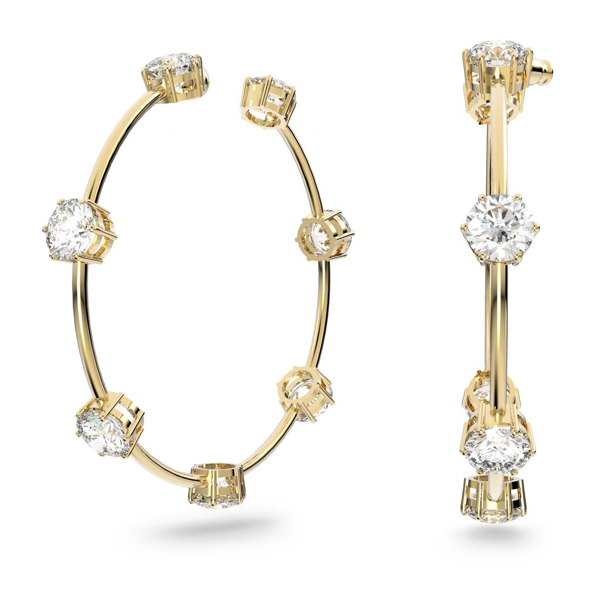 Swarovski Constella Hoop Earrings, White, Gold-Tone Plated, Pair