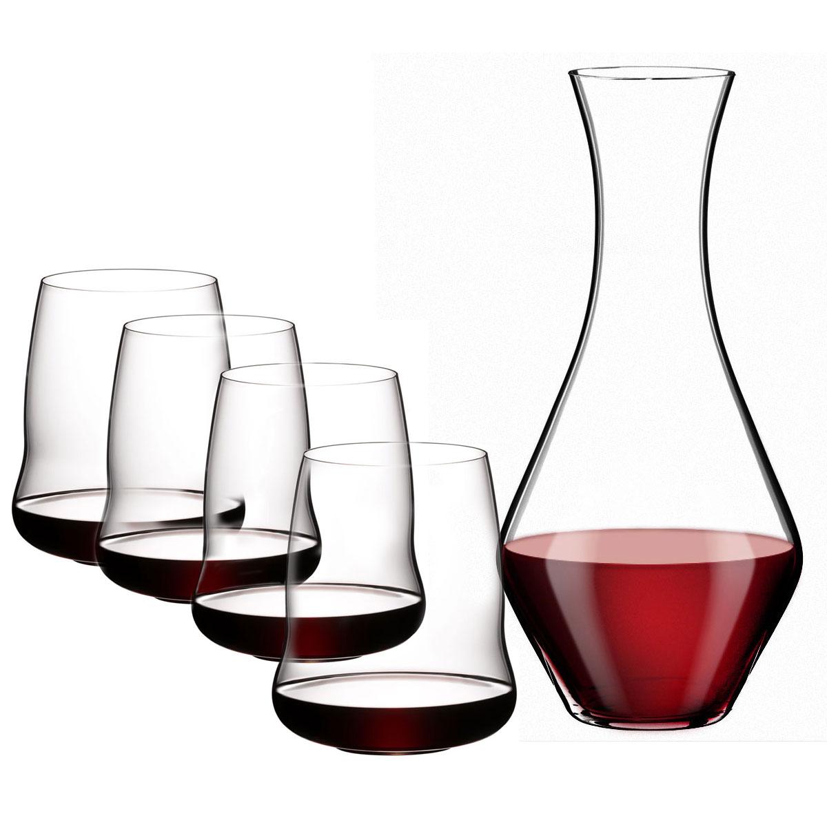 Riedel Stemless Winewings Set, Cabernet Glasses, Merlot Decanter