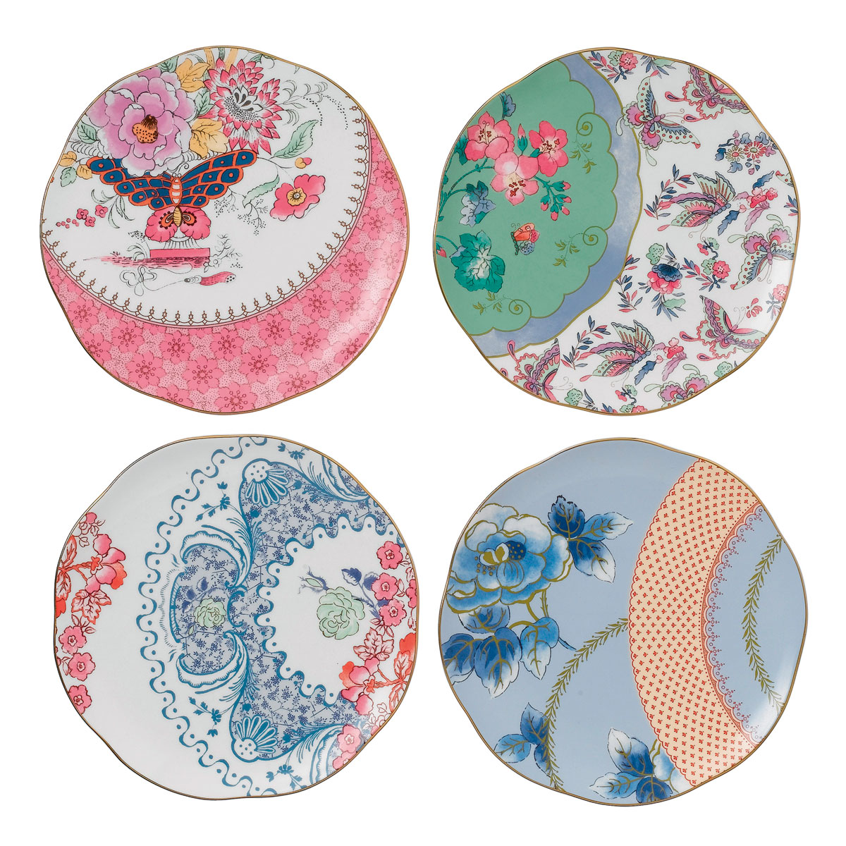 "Wedgwood Butterfly Bloom Tea Plate 8.25"" Set of 4"