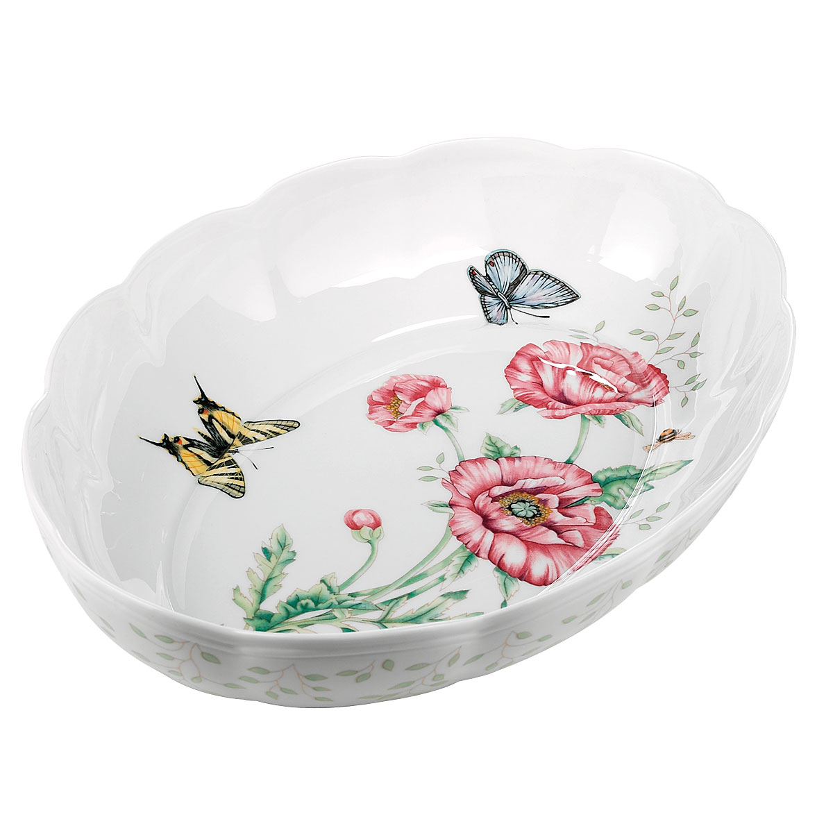 Lenox Butterfly Meadow Dinnerware Scalloped Oval Baker
