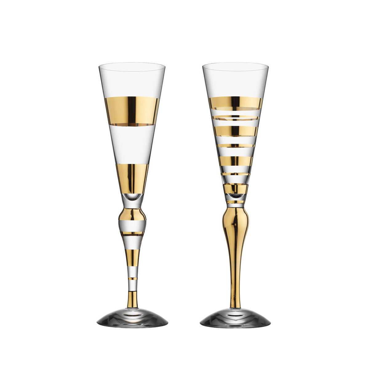 Orrefors Clown Champagne Flute Gold, Pair