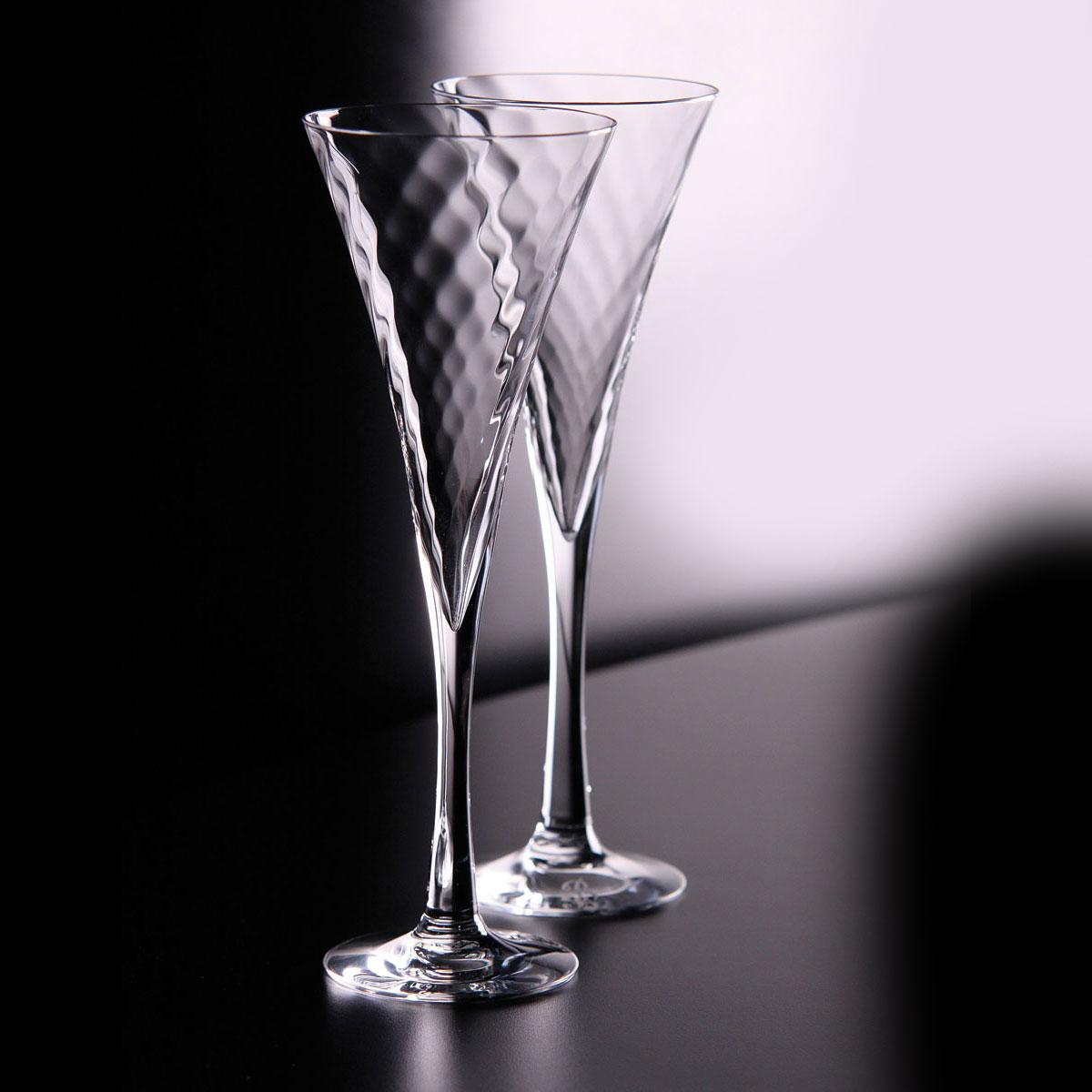 Orrefors Crystal, Helena Crystal Flutes, Pair