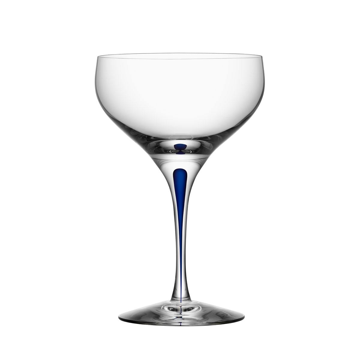 Orrefors Intermezzo Blue Coupe Champagne Cocktail Glass, Single
