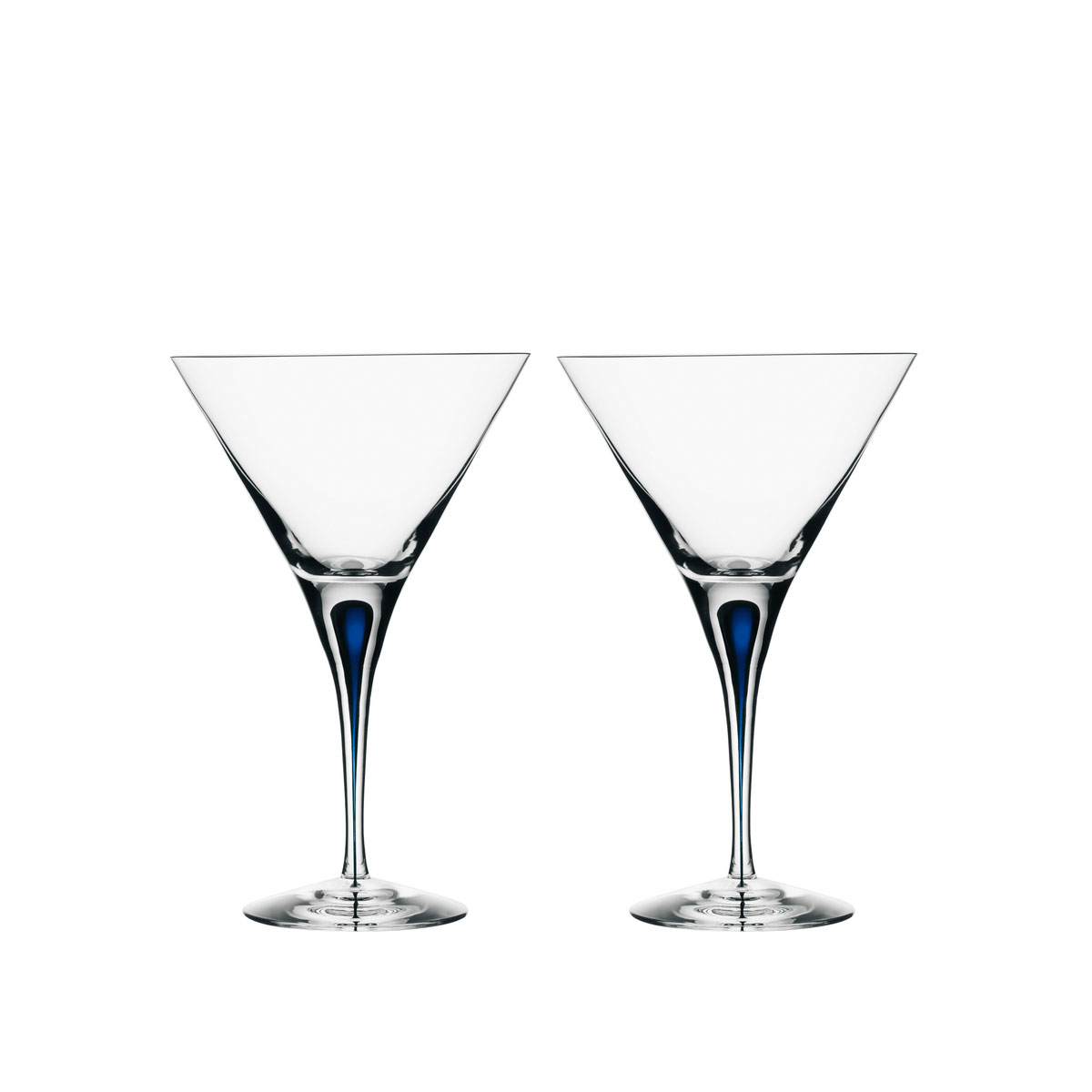 Orrefors Crystal, Intermezzo Blue Crystal Martini, Pair