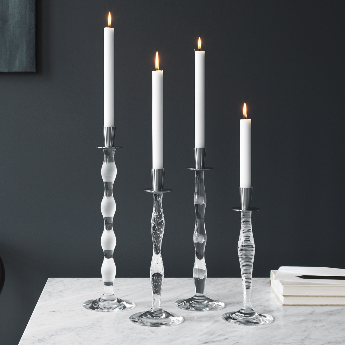 Orrefors Celeste Stripes Candlestick, Single