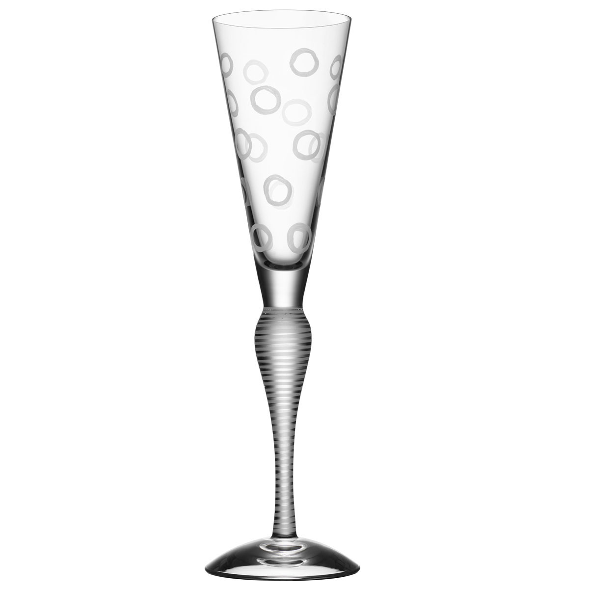 Orrefors Clown Champagne Flute Single, Frost Circles