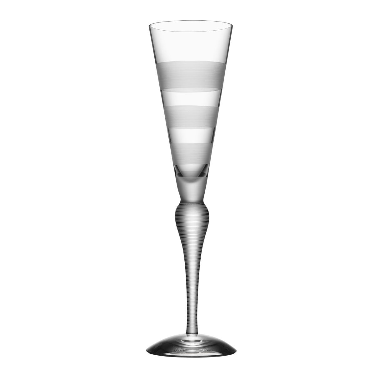 Orrefors Clown Champagne Flute Single, Frost Stripes