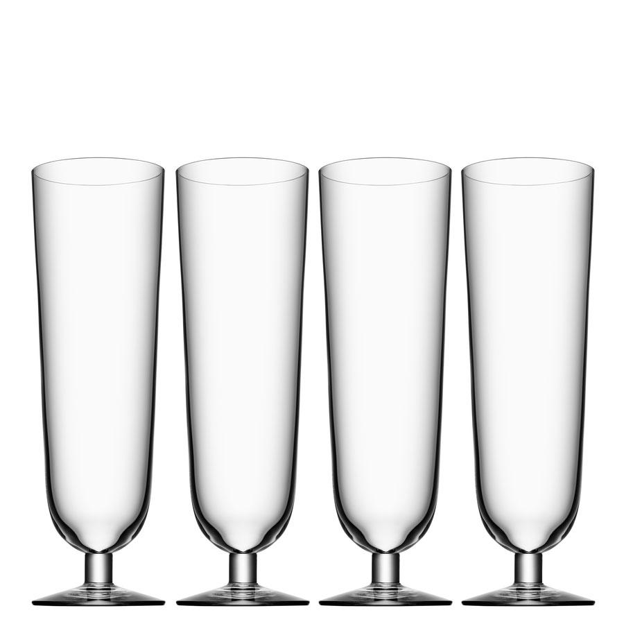 Orrefors Crystal, Beer Pilsner Glasses, Set of Four