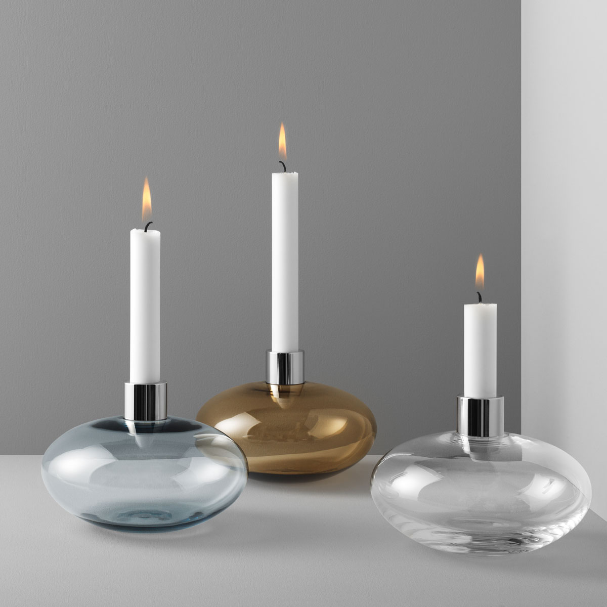 Orrefors Pluto Pluto Clear Candlestick, Single
