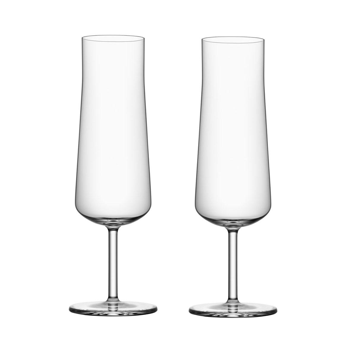 Orrefors Informal Champagne Flutes Pair