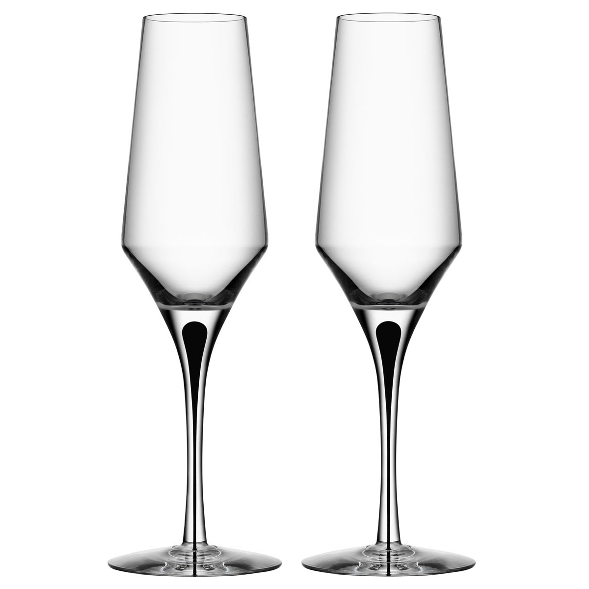 Orrefors Crystal, Metropol Black Champagne Crystal Flute, Pair